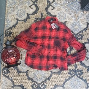 Express Plaid Gingham Cropped Top flannel S
